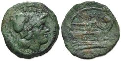 Ancient Coins - ROME REPUBLIC Anonymous, Sardinia, after 211 BC. Æ Triens. Helmeted head of Minerva R/ Prow of galley