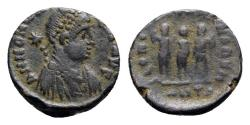 Ancient Coins - Honorius (393-423). Æ - Antioch - R/ Three emperors