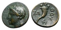 Ancient Coins - Southern Lucania, Thourioi, c. 280-213 BC. Æ - Apollo / Cornucopia