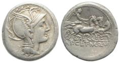 Ancient Coins - ROME REPUBLIC Appius Claudius Pulcher, T. Manlius Mancius, and Q. Urbinius. 111-110 BC. AR Denarius