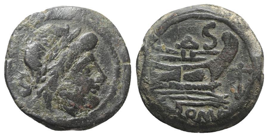 Ancient Coins - ROME REPUBLIC Anchor series, Rome, 169-158 BC. Æ Semis