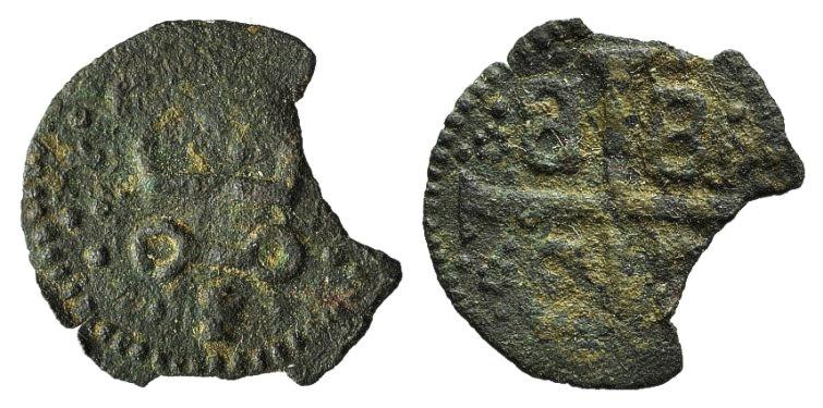 World Coins - CRUSADERS, Mytilene, Gattilusio, Anonymous AE Denaro. Castle tournois. R/ Palaeologan arms. VERY RARE