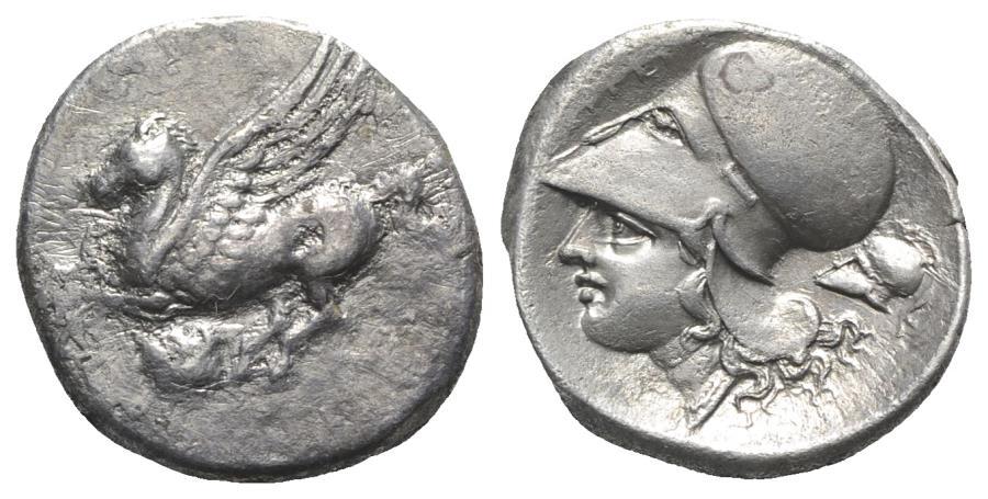 Ancient Coins - Akarnania, Argos Amphilochikon, c. 340-300 BC. AR Stater. R/ symbol: Crested Corinthian Helmet