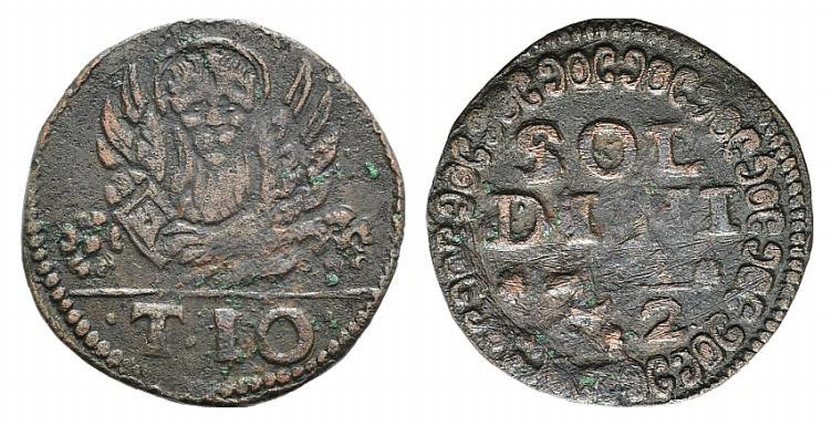 World Coins - Italy, Venezia (Candia), time of Francesco Erizzo (1631-1646). AE Soldini 2 e 12/2 or  10 Tornesi