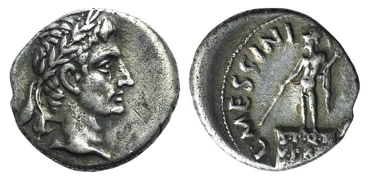 Ancient Coins - Augustus (27 BC-AD 14). AR Denarius. Rome, L. Mescinius Rufus, moneyer, 16 BC. R/ Mars