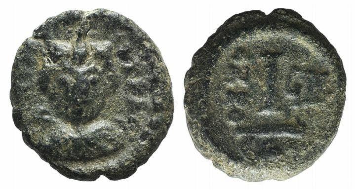 Ancient Coins - Heraclius (610-641). AE 10 Nummi. Catania, year 9 (618/9).