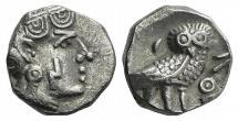Ancient Coins - ARABIA FELIX. Sabaeans. Circa 3rd century BC. AR Unit  R/ OWL NEAR Extremely Fine