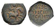 Ancient Coins - Crusaders, Antioch. Roger of Salerno (Regent, 1112-1119). Æ Follis. St. George, nimbate, on horseback