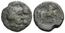 Ancient Coins - Zeugitania, Utica, 1st century BC. Æ 29mm. Laureate heads of the Dioskouroi RARE