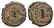 Ancient Coins - Maurice Tiberius (582-602). Æ 10 Nummi. Theoupolis (Antioch), year 12 (593/4).