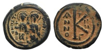 Ancient Coins - Justin II and Sophia (565-578). Æ 20 Nummi. Constantinople, year 2 (566/7)