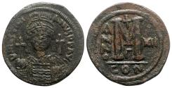 Ancient Coins - Justinian I (527-565). Æ 40 Nummi - Constantinople, year 12