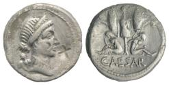 Ancient Coins - Julius Caesar, military mint in Spain, late 46-early 45 BC. AR Denarius