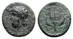 Ancient Coins - Sicily, Messana, 338-318 BC. Æ 18mm. Head of Poseidon l. R/ Ornamented trident
