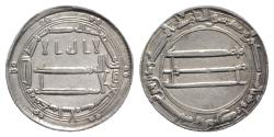 Ancient Coins - Abbasid, al-Rashid (AH 170-193 / AD 786-809). AR dirham. Madinat al-Salam, AH 187.  Extremely Fine