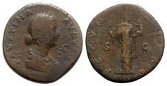 Ancient Coins - Faustina Junior (Augusta, 147-175). Æ Sestertius - Rome - R/ Fecunditas