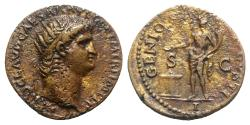 Ancient Coins - Nero (54-68). Æ As. Rome, c. AD 64.  R/ GENIUS - River Patina