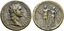 Ancient Coins - Domitian (81-96). Æ Sestertius. Rome, 88-9. R/ Domitian standing being crowned by Victory