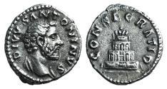 Ancient Coins - Divus Antoninus Pius. Died AD 161. AR Denarius. Consecration issue. Rome mint. Struck under Marcus Aurelius and Lucius Verus, AD 161.