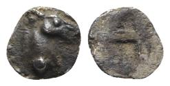 Ancient Coins - Macedon, Mende, c. 480-460 BC. AR Trihemitartemorion? - Horse head / Incuse - RARE