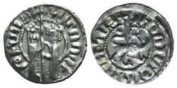 Ancient Coins - Cilician Armenia, Hetoum I and Zabel (1226-1270). AR Tram. Zabel and Hetoum. R/ Lion