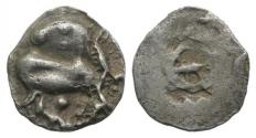Ancient Coins - Thraco-Macedonian Region, Ichnai, c. 500 BC. AR Diobol. Bull  R/ Wheel within incuse punch. VERY RARE