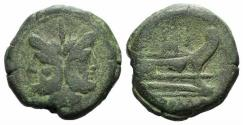 Ancient Coins - ROME REPUBLIC  Anonymous, Rome, after 211 BC. Æ As  Janus. / Prow of galley