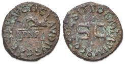Ancient Coins - Claudius (41-54). Æ Quadrans. Rome, AD 41. Holding scales; PNR below. R/ Large S • C.