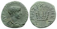 Ancient Coins - Gordian III (238-244). Cappadocia, Caesarea-Eusebia. Æ 22mm year 7 (243/4). R/ Six grain ears