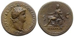 Ancient Coins - Nero (54-68). Æ Sestertius. Rome, AD 66.  R/ Roma seated