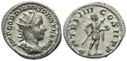 Ancient Coins - Gordian III (238-244). AR Antoninianus. Rome, AD 241. R/ Gordian standing EXTREMELY FINE