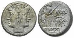 Ancient Coins - ROME REPUBLIC Anonymous, Rome, c. 225-212 BC. AR Quadrigatus Head of Janus. R/ Jupiter in quadriga