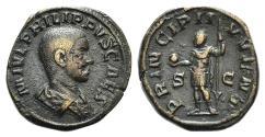 Ancient Coins - Philip II (Caesar, 244-247). Æ Sestertius. Rome, AD 246. R/ Philip II standing