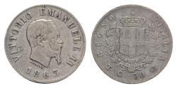 World Coins - Italy, Regno d'Italia. Vittorio Emanuele II (1849-1861). 50 Centesimi 1863, Torino