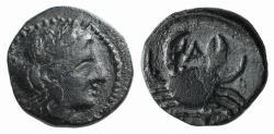 Ancient Coins - Mysia, Priapos, 1st century BC. Æ 10mm.  R/ CRAB VERY RARE