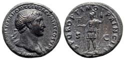 Ancient Coins - Trajan (98-117). Æ As - Rome - R/ Roma standing