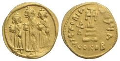 Ancient Coins - Heraclius, with Heraclius Constantine and Heraclonas. 610-641. GOLD Solidus