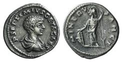 Ancient Coins - Geta. As Caesar, AD 198-209. AR Denarius. Laodicea ad Mare mint. Struck under Septimius Severus and Caracalla, circa AD 202-203. R/ MINERVA