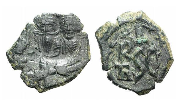 Ancient Coins - Heraclius and Heraclius Constantine (610-641). Æ 40 Nummi. Syracuse, 630-637. Countermarked on uncertain issue.