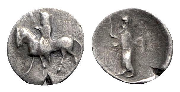 Ancient Coins - Cilicia, Uncertain, 4th century BC. AR Hemiobol - Horseman / Figure standing - RARE