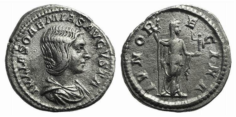 Ancient Coins - Julia Soemias (218-222). AR Denarius. Rome, c. 219. R/ Juno