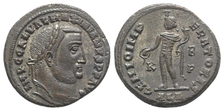 Ancient Coins - Galerius (305-311). Æ Follis. Alexandria, 308-310. R/ Genius