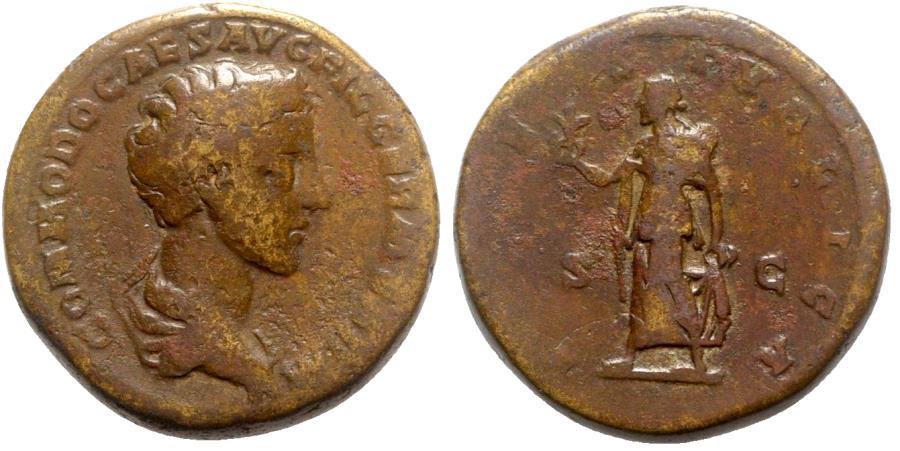 Ancient Coins - Commodus (Caesar, 166-177). Æ As - Rome - R/ Spes