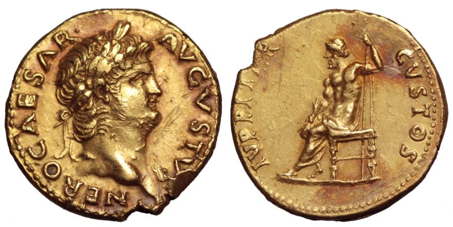 Ancient Coins - Nero (AD 64-65) GOLD Aureus. Rome. / Jupiter