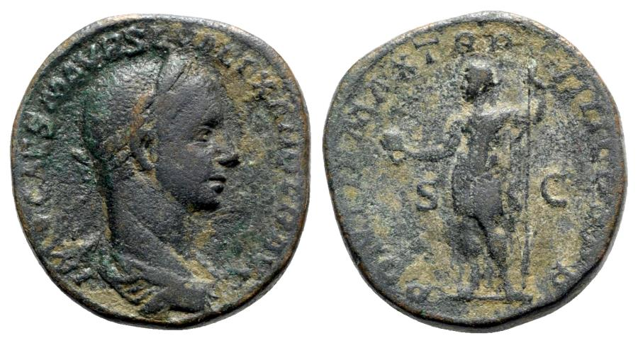Ancient Coins - Severus Alexander (222-235). Æ Sestertius - R/ Emperor standing