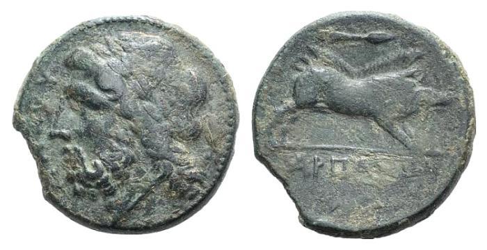 Ancient Coins - Italy, Apulia, Arpi, 3rd century BC. Æ 19mm R/ Boar