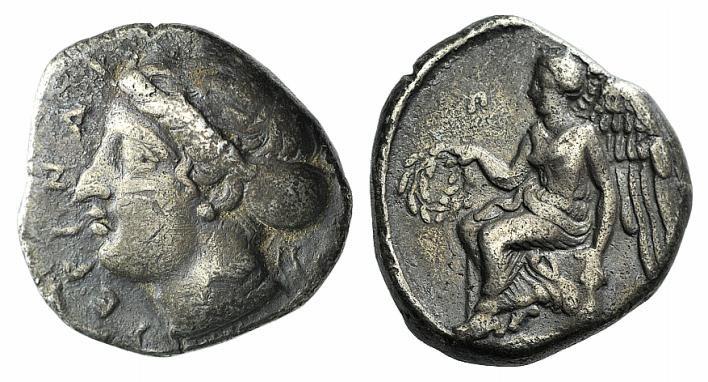 Ancient Coins - ITALY, BRUTTIUM, Terina. Circa 420-400 BC. AR Nomos