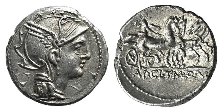 Ancient Coins - Rome Republic Appius Claudius Pulcher, T. Manlius Mancius and Q. Urbinius, Rome, 111-110 BC. AR Denarius