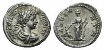Ancient Coins - CARACALLA. 198-217 AD. AR Denarius. Struck 201 R/ SAL GEN HVM