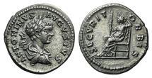 Caracalla. AD 198-217. AR Denarius. Laodicea mint. Struck AD 200-201. R/ Securitas EXTREMELY FINE